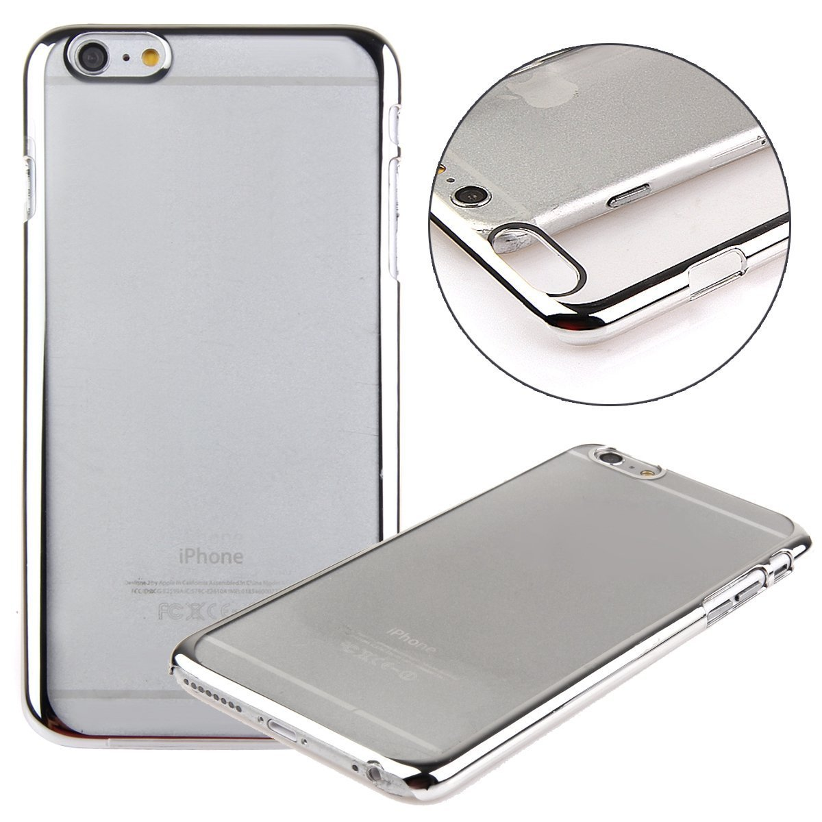 """""""iPhone 6 Case, LUOLNH(TM) Plastic Plated Transparent Slim Hard Case Cover with Design for Iphone 6 4.7 Inch(Clear:Silver )"""""""