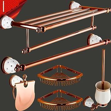 Bagno di rame continentale porta/rosa oro cremagliera di tovagliolo/Bagno Portasciugamani doppio/[Scaffale da bagno]/hardware-I