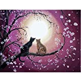 Moohue 14CT Counted Cross Stitch Kits Cute Cat and Tree Cross Stitch Pattern DMC Cotton Thread NeedleCraft Kits (Cute cat and Tree) (Color: Cute cat and tree)