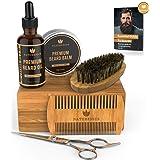 Naturenics Premium Beard Grooming Kit for Mens Care - 100% Organic Unscented Beard Oil, Beard Brush, Dual Teeth Comb, Mustache & Beard Balm Butter Wax, Barber Scissors with Bamboo Gift Set & eBook (Tamaño: 1 Pack)