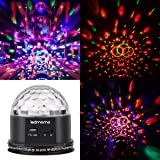LEDMOMO Crystal Magic Disco Ball Party Lights 6 Color Changes Sound Actived RGB Mini Rotating Strobe Stage Lights MP3 with Remote Control (Color: As Shown)