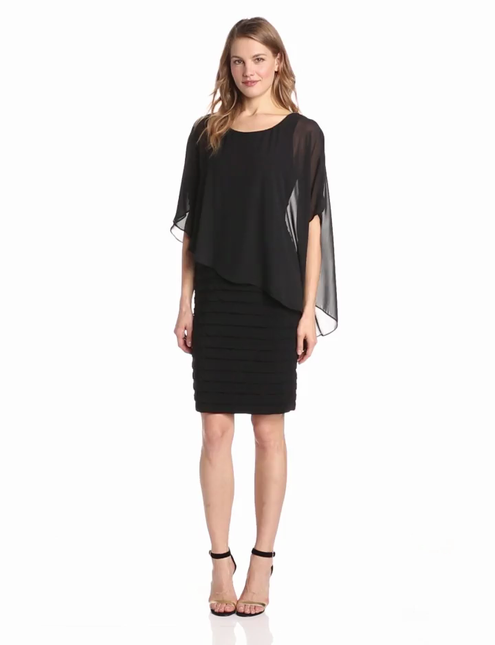 Adrianna Papell Womens Banded Dress with Popover Bodice