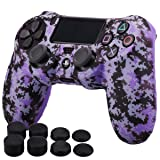 MXRC Silicone Rubber Cover Skin Case Anti-Slip Water Transfer Customize Digital Camouflage for PS4/SLIM/PRO Controller x 1(Purple)+ FPS PRO Extra Height Thumb Grips x 8 (Color: purple, Tamaño: PS4 digital camouflage)