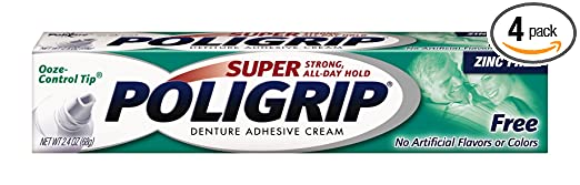 Super Poligrip Zinc Free Denture Adhesive Cream, 2.4-Ounce Tubes (Pack of 4)
