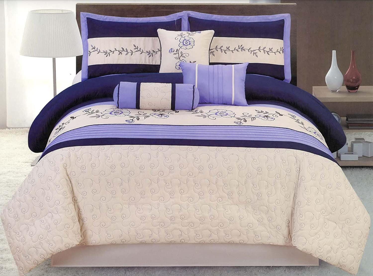 Jaba 7-Piece Embroidery Floral Comforter Set Queen Bed-In-A-Bag Lavender, Blue, Beige at Sears.com