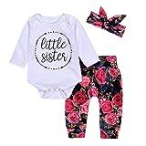 3Pcs Cotton Newborn Baby Girls Tops + Flower Pants + Headband Clothes Outfits Set (0-6M, White)