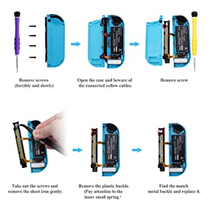 [New Version] Replacement Latches for Nintendo Switch Joy-Con,Lock Buckles Repair Tool Kit for Switch Joy-Cons with Screwdrivers and Tweezer