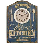 HDC International 05-0070 Wall Clock, Blue, Moms Kitchen Plaque