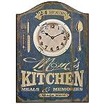 HDC International 05-0070 Wall Clock, Blue, Moms Kitchen Plaque
