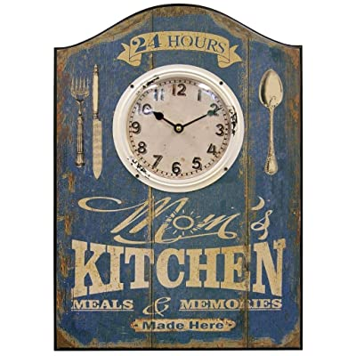 HDC International 05-700 Wall Clock, Blue, Mom's Kitchen Plaque