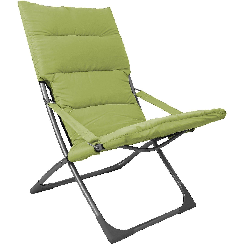 Liegestuhl inkl. Sitzauflage Strandstuhl Campingstuhl Gartenstuhl Klappstuhl Strandliege Campingmöbel Gartenmöbel faltbar - Grün