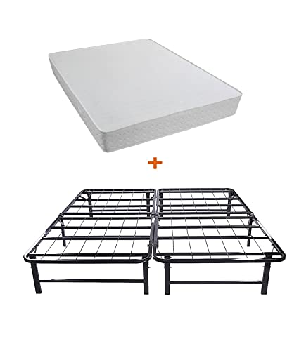 Merax Bed set of King Bed Mattress and King Metal Folding Bed Frame (8 inch)