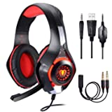 BlueFire Stereo Gaming Headset for Playstation 4 PS4, Over-Ear Headphones with Mic and LED Lights for Xbox One, PC, Laptop (Red) (Color: Red)