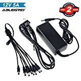 ABLEGRID Swann Lorex Q-See Security Camera Power Adapter 12V 5A 60W 2-Prong Plug 100V-240V AC to DC 2.5x5.5mm w/8-Way Power Splitter Cable Power Supply for CCTV Security Camera DVR, LED Strip Lights