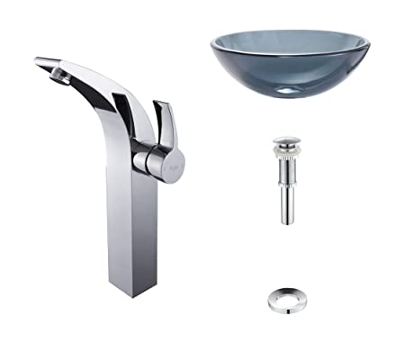 Kraus C-GV-104-12mm-14700CH Clear Black Glass Vessel Sink and Illusio Faucet Chrome