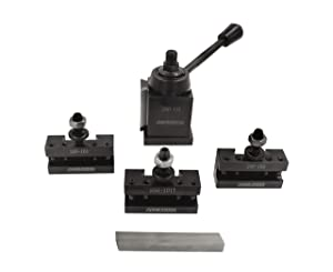 Accusize Industrial Tools Axa 4 Pc Wedge Type Quick Change Tool Post Set for Lathe Swing 6'' - 12'' with 1/2'' M35 Square Lathe Bit, 0251-0155 (Tamaño: AXA, for Lathe Swing 6-12, 4 Pc w/ Lathe Bit)