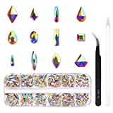 240 Piece Multi Shapes Glass Crystal AB Rhinestones For Nails Art 3D Decorations, Mix 12 Styles FlatBack Nail Crystals Gems Set (240 pcs Crystals) (Color: Crystal AB, Tamaño: 240 pcs Crystals)