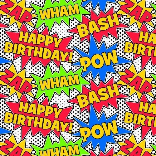 The Gift Wrap Company Deluxe Quality Gift Wrap Roll, Birthday Comics front-524301