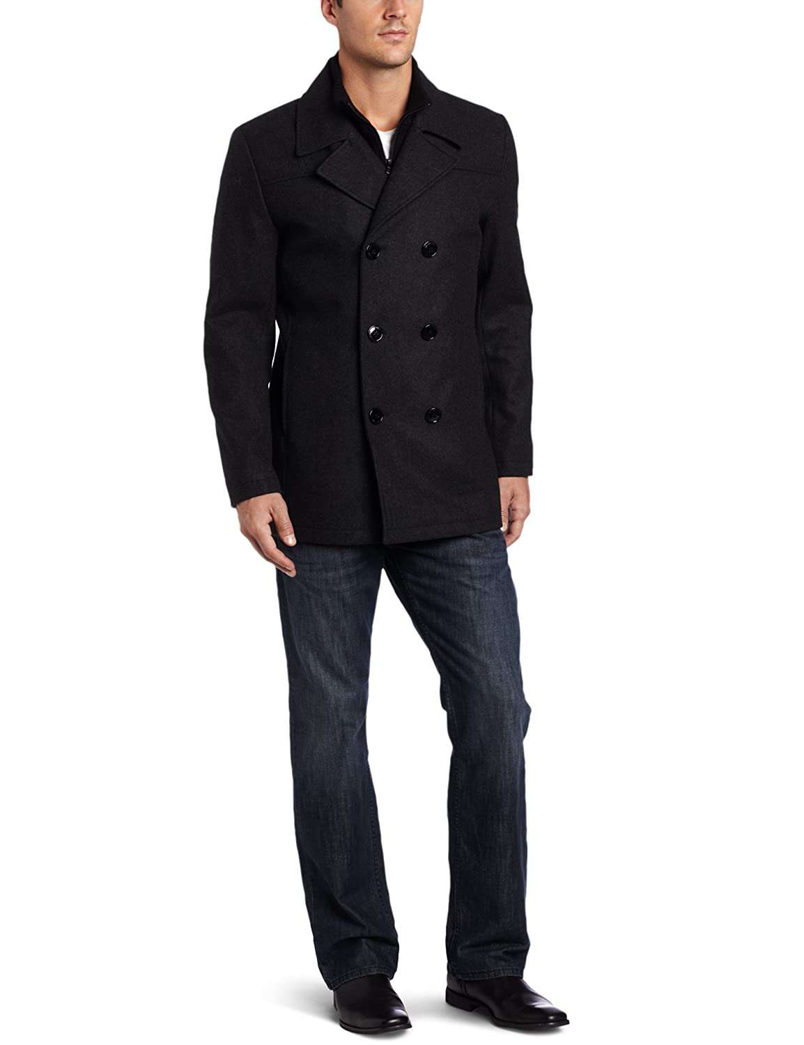 Kenneth Cole Men's Peacoat With Bib Outerwear, Charcoal, Medium $50