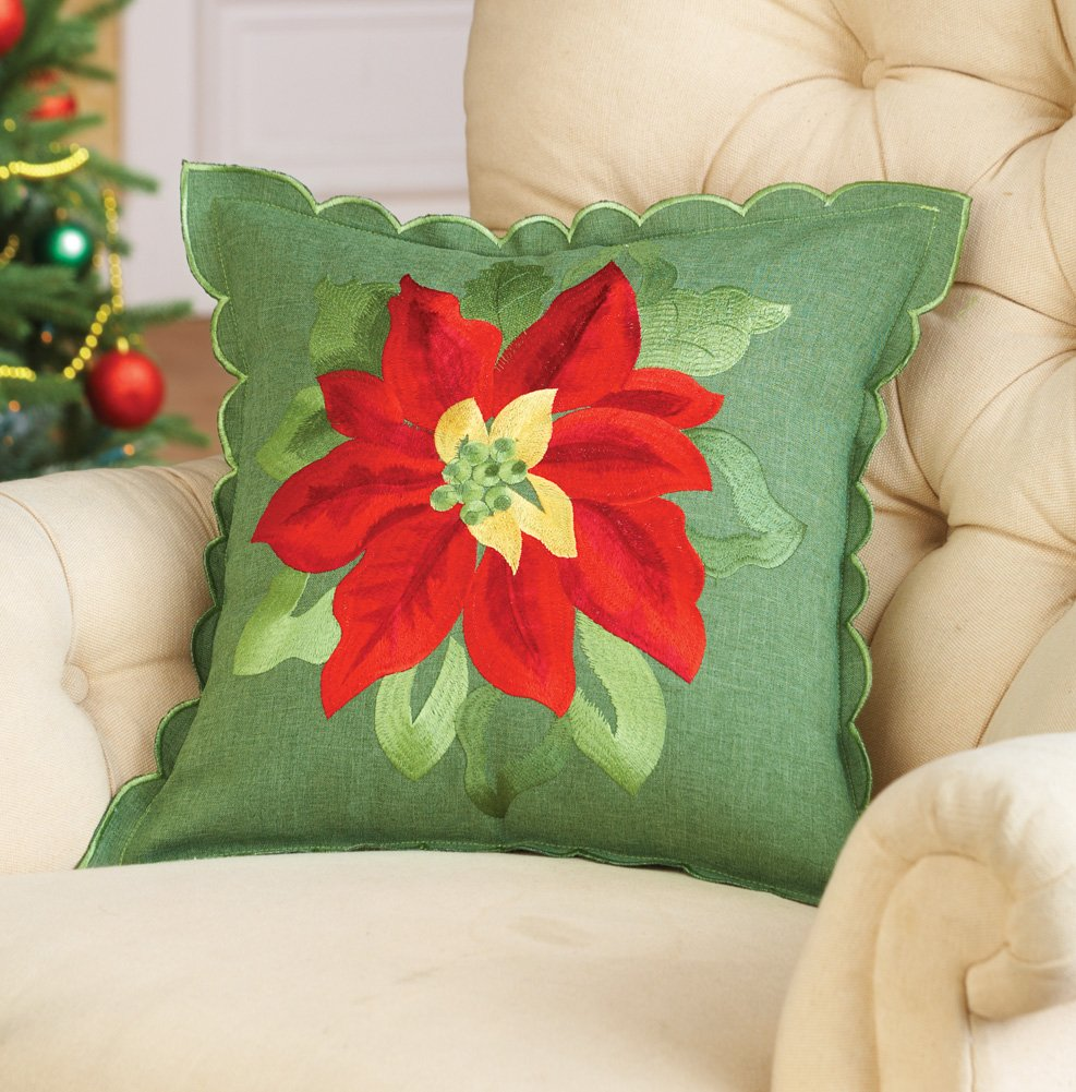 17 Decorative Poinsettia Pillow Cover