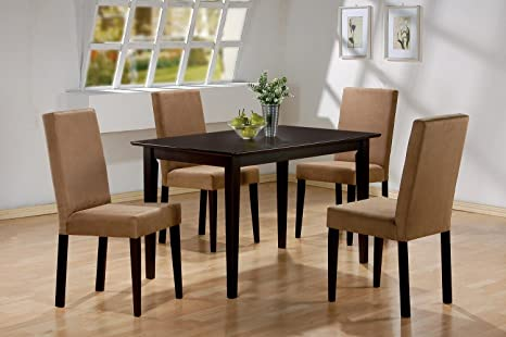 5pc Cappuccino Finish Dining Table & 4 Microfiber Parson Chairs Set