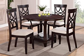Poundex F2195 & F1221 Espresso Round Table & Fabric Chairs 5 Piece Dining Set