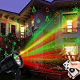Christmas Laser Lights, Waterproof Projector Lights LED Landscape Spotlight Red and Green Star Show with RF Wireless Remote Christmas Decorative for Outdoor Garden Patio Wall Xmas Holiday Party (Color: Christmas Laser Lights)