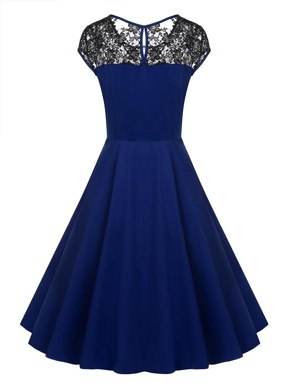 ACEVOG Women's Lace Crochet Sleeveless Cotton Vintage Tea Dress 3