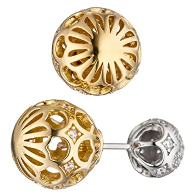 Earrings Jewelry Women's Earrings with Zirconia 925 Silver Gold-Plated Reversible