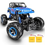 RC Car, SHARKOOL Newest 2.4 Ghz 4WD RC Trucks 1/18 Scale Remote Control Car with Two Rechargeable Batteries, Off Road RC Crawlers Toy Car for Adults & Kids (Color: Blue)
