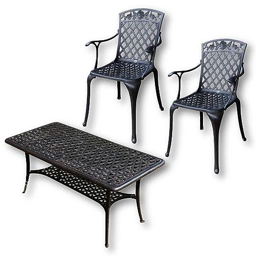 Lazy Susan - CLAIRE Rechteckiger Garten Beistelltisch mit 2 ROSE Stuhlen - Gartenmöbel Set aus Metall, Antik Bronze