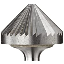 "PFERD 90 Degree Cone Carbide Bur, Uncoated (Bright) Finish, Single Cut, Point End, 1/8"" Shank, 1/8"" Head Diameter, 1/16"" Head Length (SK-42)"