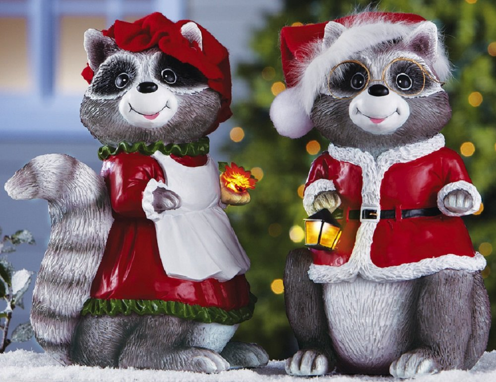 Adorable Mr. & Mrs. Santa Claus Raccoon Christmas Statues with Lighted Accessories (Set of 2) Home and Garden Figurines