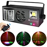 Stage Lights,MARYGEL 4 in 1 Mixed Effect Sound Activated RGBW LED Pattern Lights Strobe Light By Remote and DMX Control for DJ Club Disco Party Wedding Birthday Christmas(Black) (Color: BLACK 4 in 1)