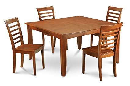 East West Furniture PFML5-SBR-W 5-Piece Dining Table Set