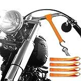 Badass Moto - Soft Loop Motorcycle Tie Down Straps - 11,000 Lbs Break Strength, Heavy Duty Ultra Soft Loops - Scratch Free Trailering - Tow Bikes, Trikes, ATV, UTV - Hi Vis Orange - 4 Tiedowns (Color: Hi Vis Sturgis Orange, Tamaño: XL)