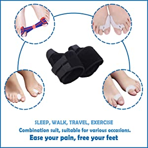Bunion Corrector and Toe Separators Suit,Treat Pain in Hallux Valgus,Orthopedic Bunion Splint,Adjustable Orthopedic Big Toe Straighteners Foot,Big Toe
