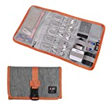 BUBM Travel Organizer, Cable Bag/USB Drive Shuttle Case/Electronics Accessory Organizer-Grey (Color: Grey)