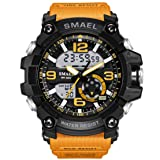 KXAITO Men's Sports Outdoor Waterproof Military Watch Date Multi Function Tactics LED Alarm Stopwatch (05_Orange)