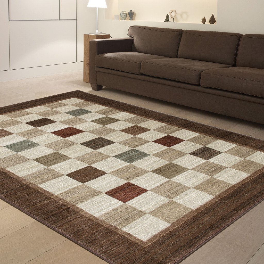 Checked Area Rugs: Rugs Area Rug Floor Carpet Checked Brown Beige Ivory