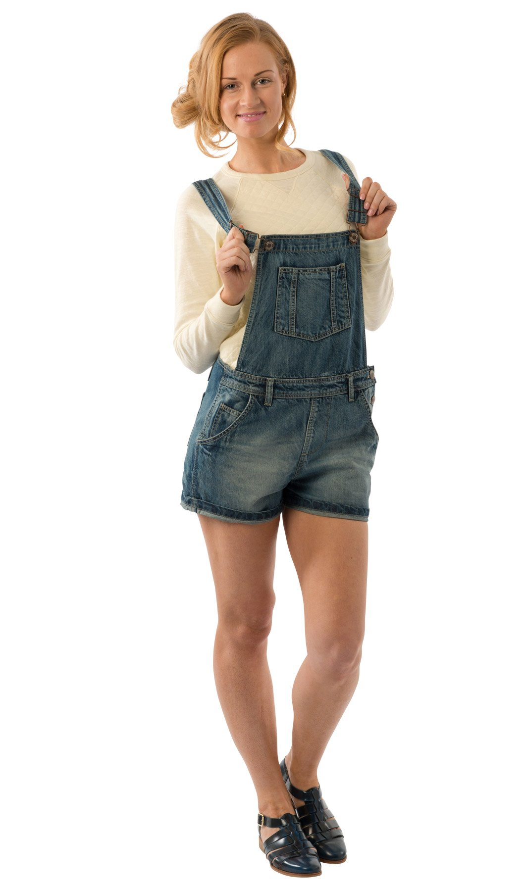 Uskees Anna Relaxed Fit Vintage Wash Denim Bib Overall