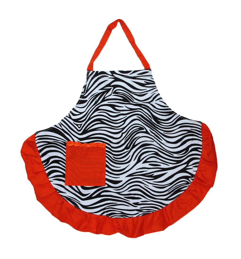 Zebra Print Apron with Orange Ruffle Trim and Pocket