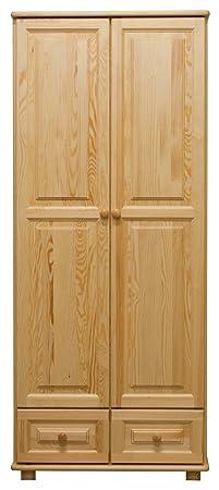 Kleiderschrank Massivholz natur 012 - 190 x 80 x 60 cm (H x B x T)