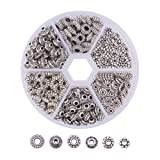 Pandahall Elite1 BOX 300 PCS Assorted Tibetan Silver Spacer Beads Jewelry Findings Accessories for Bracelet Necklace Jewelry Making