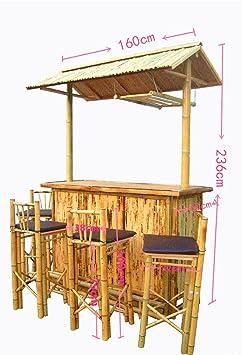 5tlg bambus bar mit 4 hocker bambus theke tresen barhocker outdoor cocktailbar pavillion db782. Black Bedroom Furniture Sets. Home Design Ideas
