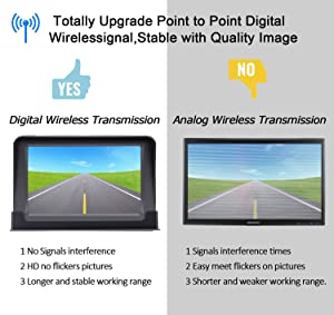 HD Digital Wireless Backup Camera Kit, Stable Signal Reverse Camera System with Super Night Vision, IP69K Waterproof Rear View Camera 5'' TFT Monitor for Trucks,Vans,Campers,SUV Guide Lines On/Off (Tamaño: 5'' Digital Wireless Kit)