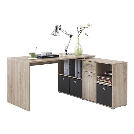 FMD Möbel 353-001 Winkelkombination LEX Tisch circa 136 x 75 x 68 cm, montiert Regal circa 137 x 71 x 33 cm, eiche