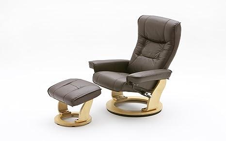 Excl. Baidani Designer Relax-Chair CAMILLO mit Hocker Rindsleder - Braun Natur