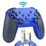 Switch Pro Controller,Wireless Switch Controller for Nintendo Switch,with LED Type C Charging Cable(Blue) (Color: blue)