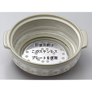 萬古焼 銀峯 IH対応 土鍋 9号 4-5人用 花三島 26091